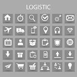 Vector flat icons set and graphic design elements. Illustration with Logistic, delivery business, distribution outline symbols.