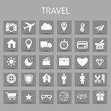 Vector flat icons set and graphic design elements. Illustration with travel, tourism outline symbols.