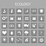 Vector flat color icons set and graphic design elements. Illustration with ecology outline symbols.