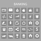 Vector flat icons set and graphic design elements. Illustration with banking, finance outline symbols.