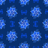Repeating dark blue vintage pattern