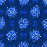Repeating dark blue vintage pattern