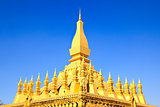 Golden pagada in Wat Pha That Luang, Vientiane, Laos.