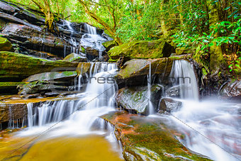 Cascading waterfall in a rainforest