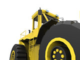 Excavator on a white uniform background. Backhoe loader. 3d illustration.