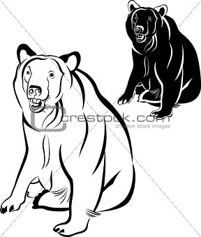 bear. silhouette bear on a white background for your design. bear silhouettes on the white background. Bears white brown animals