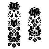 Kalocsai black embroidery - Hungarian floral folk art long patterns
