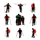A set of hiker silhouettes