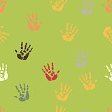 Hand palm ink splash print seamless background