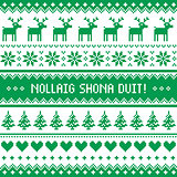 Nollaig Shona Duit - Merry Christmas in Irish pattern, greetings card