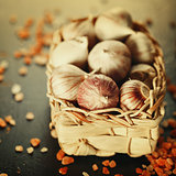 Garlic Close Up in a Basket