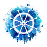Steering wheel for ship white icon