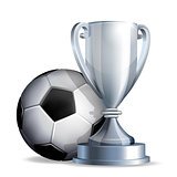 Silver cup with a football ball