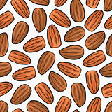 Almond nut seamless vector background