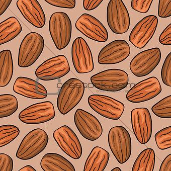 Almond nut seamless vector background