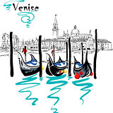 Vector Gondolas in Venice lagoon, Italia