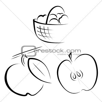 A set of logos depicting apples