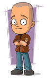 Cartoon bold boy in brown jacket and jeans