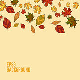abstract vector doodle autumn leaves background