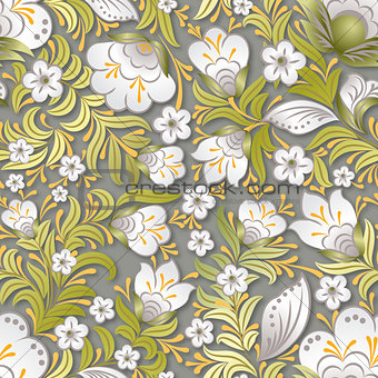 abstract white seamless floral ornament