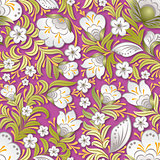 abstract white seamless floral ornament on pink background