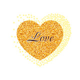 Gold glitter heart. Valentine Day banner, card, poster.