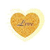 Gold glitter heart. Valentine Day banner, card, poster.