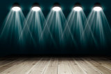 Background with wooden floor and spotlights