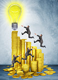 Businessmen run and jump on money stairs