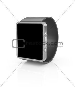 Smartwatch in perspective with black screen