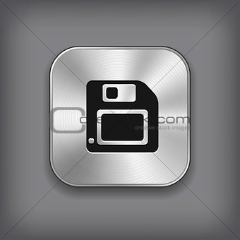 Floppy diskette icon - vector metal app button