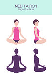 Meditating woman vector set