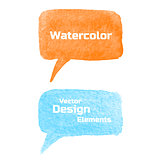 Set of Vector Watercolor Speech Bubbles