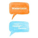 Set of Vector Watercolor Speech Bubbles