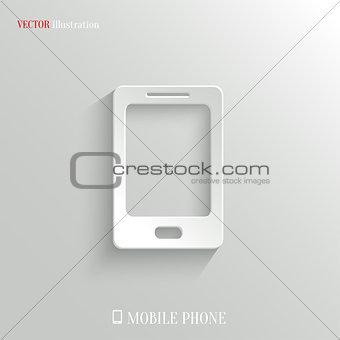 Smartphone icon - vector white app button