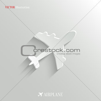 Airplane icon - vector white app button