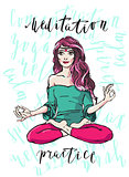 Meditating woman hand drawn