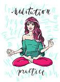 Meditating woman hand drawn