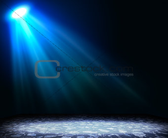 Abstract light blue background with textured floor