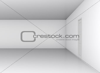 Classical closed door in white office wall