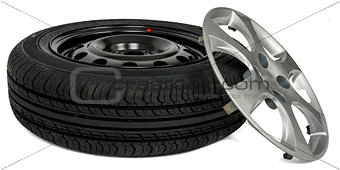 Car tire with wheel cap