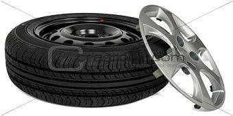 Car tire with wheel cap