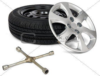 Car tyre with wheel cap and screwdriver