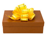 Brown gift box with yellow ribbon and bow