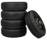 Front view photo of some tires. Isolated