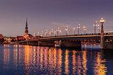 Riga, Latvia: Old Town of at night
