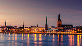 Riga, Latvia: Old Town of at night
