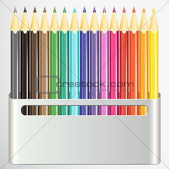 Box of pencils on white background.