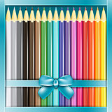 Present box of pencils with ribbon.