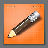 Small pencil on the orange paper sheet background. StockPhoto